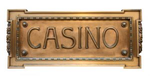 Isolated Brass Sign For A Luxury Casino