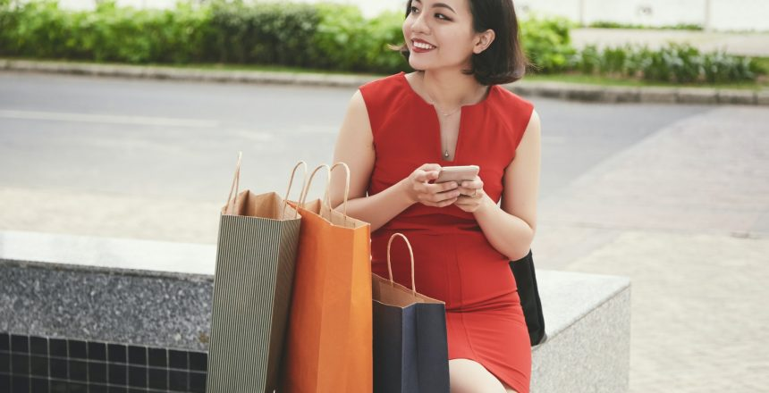 Woman resting after shopping
